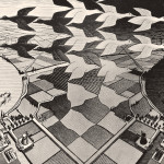 Giorno e notte 1938 xilografia - cm 39,1 x 67,7 Baarn, M.C. Escher Foundation All M.C. Escher works © 2014 The M.C. Escher Company. All rights reserved